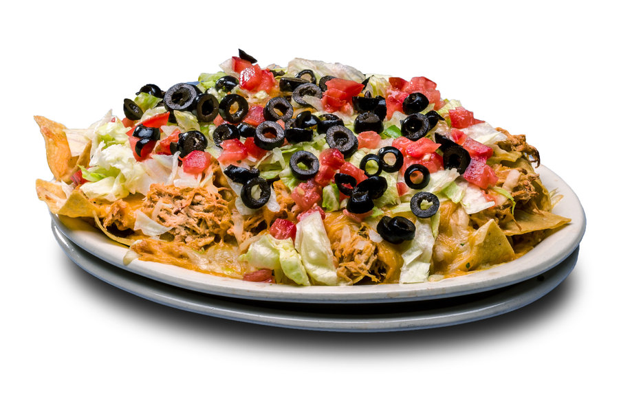 A large pile of tortilla chips and cheese topped with lettuce, tomato, ripe olives, sour cream, salsa and your choice of bean, chicken, pork or beef.