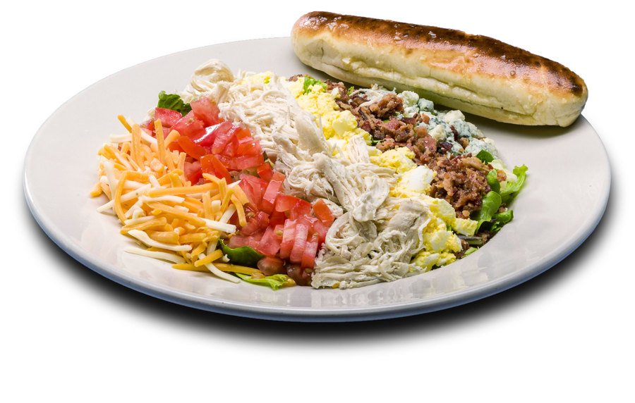 Mixed greens, crumbled egg, bacon, tomatoes, red onion, bleu and cheddar jack cheeses, sliced chicken breast, served with a toasted breadstick and your choice of dressing.