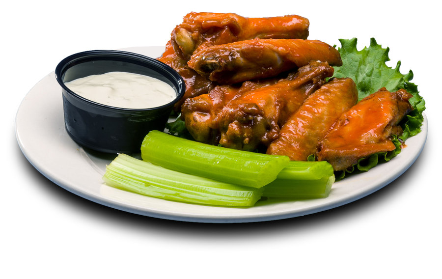 Jumbo wings cooked without breading and tossed in our own Buffalo sauce with celery and ranch or bleu cheese dipping sauce.